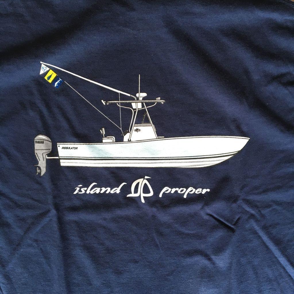 Island proper custom navy short sleeve regulator tee for Custom boat t shirts