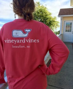 Vineyard Vines Beaufort, NC Custom Long Sleeve Pocket Tee in Jetty Red